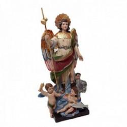 Figura San Rafael Arcángel adorno 25cm. resina peana decoración