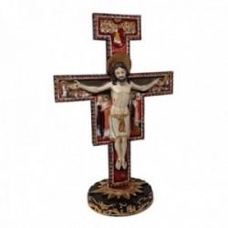 Figura Cristo crucificado cruz bizantina adorno 28cm. resina peana decoración