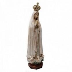 Figura Virgen Fátima efecto madera desgastada adorno 20.5cm. resina peana decoración