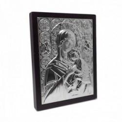 Imagen icono Virgen Perpetuo Socorro 12cm. metal plateado marco madera