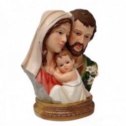 Figura busto Sagrada Familia adorno 23cm. resina peana decoración