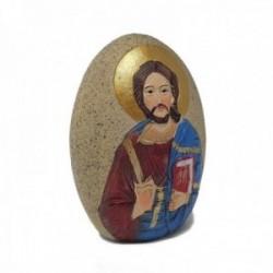 Figura piedra Jesús adorno resina 9cm. peana decoración