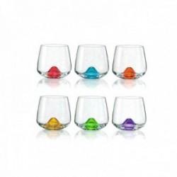 Juego 6 vasos bajos cristal bohemia 310ml. multicolor islas