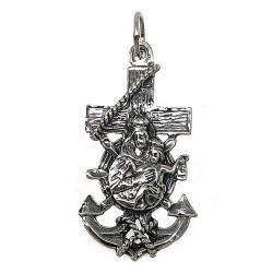 Colgante plata Ley 925m cruz marinera Virgen del Carmen 38mm. unisex ancho 20mm.