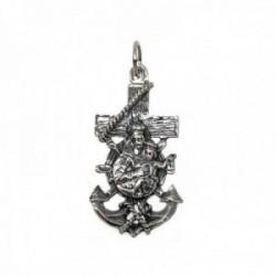 Colgante plata Ley 925m cruz marinera Virgen del Carmen 34mm. unisex ancho 19mm.