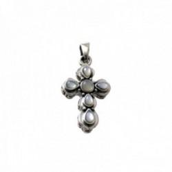 Colgante plata Ley 925m cruz 20mm. centro piedras nácar formas