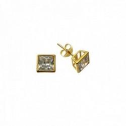 Pendientes plata Ley 925m chapados oro bocel cuadrados 5mm. circonita cierre presión