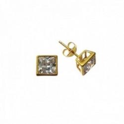 Pendientes plata Ley 925m chapados oro bocel cuadrados 6mm. circonita cierre presión