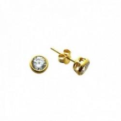 Pendientes plata Ley 925m chapados oro bocel redondos 4mm. circonita chatón cierre presión