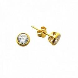 Pendientes plata Ley 925m chapados oro bocel redondos 5mm. circonita chatón cierre presión