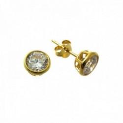 Pendientes plata Ley 925m chapados oro bocel redondos 6mm. circonita chatón cierre presión