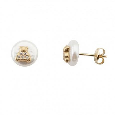 Pendientes oro 18k perla coín 7-8mm. oso circonitas [5521]