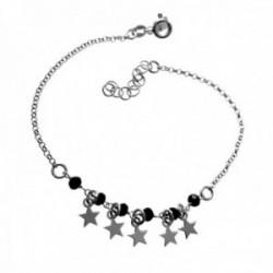 Pulsera plata Ley 925m rodiada cadena rolo 18cm. detalle piedras estrellas colgando cierre reasa