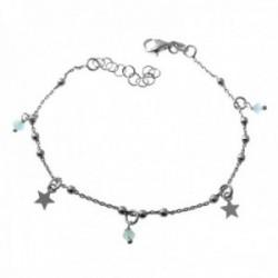 Pulsera plata Ley 925m rodiada cadena combinada bolas 17cm. estrellas piedras colgando mosquetón