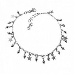 Pulsera plata Ley 925m cadena rolo 19cm. detalle bolas estrellas colgando cierre mosquetón