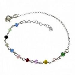 Pulsera plata Ley 925m cadena rolo 17.5cm. detalle piedras colores cierre reasa