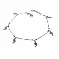 Pulsera plata Ley 925m cadena combinada 18.5cm. detalle delfines lisos colgando cierre mosquetón