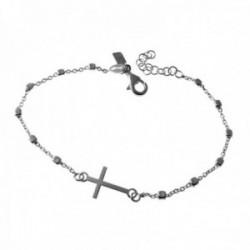 Pulsera plata Ley 925m cadena combinada 17cm. centro cruz lisa cierre mosquetón