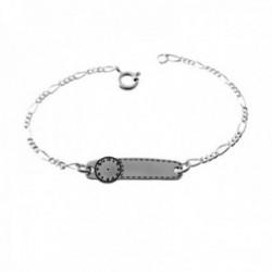 Esclava plata Ley 925m pulsera infantil 13.5cm. cadena alternada 3x1 detalle reloj cierre reasa