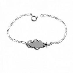 Esclava plata Ley 925m pulsera infantil 13.5cm. cadena alterna 3x1 detalle nube luna estrellas