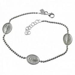 Pulsera plata Ley 925m cadena bolas 19.5cm. detalle medallitas Virgen Milagrosa cierre mosquetón