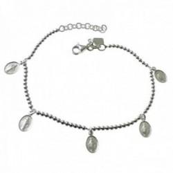 Pulsera plata Ley 925m cadena bolas 18cm. medallitas Virgen Milagrosa colgando cierre mosquetón