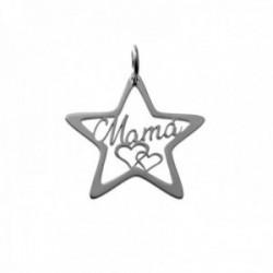 Colgante plata Ley 925m estrella 24mm. calada centro palabra MAMÁ corazones