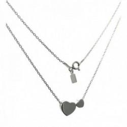 Gargantilla plata Ley 925m cadena 40cm. motivo corazones lisos distinto tamaño cierre reasa