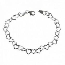 Pulsera plata Ley 925m cadena corazones calados entrelazados 19cm. cierre mosquetón