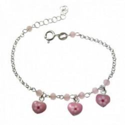 Pulsera plata Ley 925m infantil 15cm. cadena rolo piedras corazones dibujo flor rosas colgando