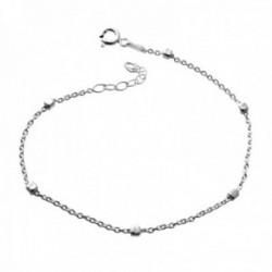 Pulsera plata Ley 925m cadena combinada 17cm. cuadraditos cierre reasa