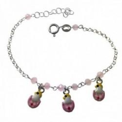 Pulsera plata Ley 925m infantil 14.5cm. cadena rolo piedras patitos esmaltados rosas colgando