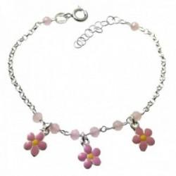 Pulsera plata Ley 925m infantil 14.5cm. cadena rolo piedras flores esmaltadas rosas colgando