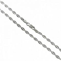 Cadena plata Ley 925m modelo forzada marina 50cm. lisa cierre mosquetón