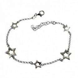 Pulsera plata Ley 925m rodiada 17cm. cadena rolo detalle estrellas caladas cierre mosquetón