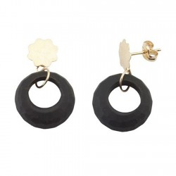 Pendientes oro 18k largos circular negro piedra semipreciosa [5563]