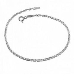 Pulsera plata Ley 925m cadena 18.5cm .cordoncillo cierre reasa