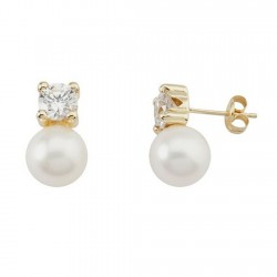 Pendientes oro 18k garra circonita perla cultivada [5565]