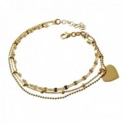 Pulsera plata Ley 925m chapada oro triple cadena 17.5cm. bolitas detalle corazón cierre mosquetón