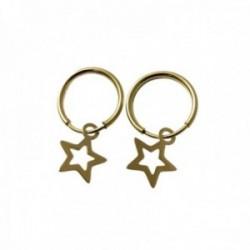 Pendientes plata Ley 925m chapados oro aros 13mm. diámetro detalle estrella calada colgando