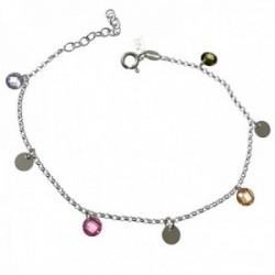 Pulsera plata Ley 925m cadena 17cm. detalle piedras colores discos lisos 5mm. colgando cierre reasa