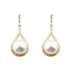 Pendientes oro 18k largos 27mm. lágrima circonitas perla cultivada cierre presión