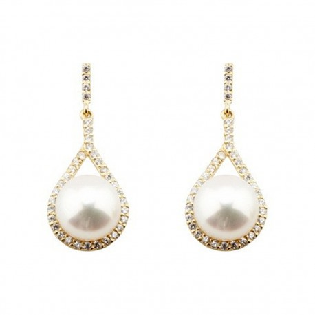 Pendientes oro 18k largos lágrima circonitas perla cultivada [5570]