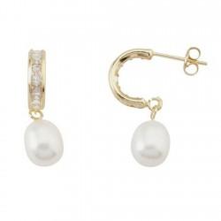 Pendientes oro 18k largos medio aro perla cultivada circonitas [5571]