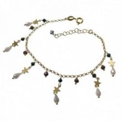 Pulsera plata Ley 925m chapada oro 16.5cm cadena rolo motivo piedras estrellas colgando cierre reasa