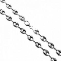 Cadena plata Ley 925m 50cm. modelo calabrote lisa cierre mosquetón