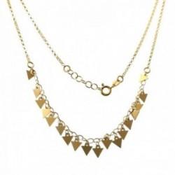 Gargantilla plata Ley 925m chapada oro cadena 40cm. detalle triángulos lisos colgando cierre reasa