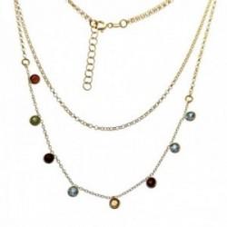 Gargantilla plata Ley 925m chapada oro doble cadena 36cm. rolo cadena 41.5cm. piedras colores reasa