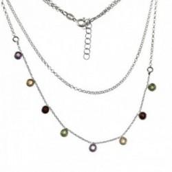 Gargantilla plata Ley 925m rodiada doble cadena 36cm. rolo cadena 42cm. piedras boceladas colores