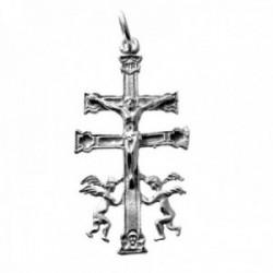 Colgante plata Ley 925m cruz Caravaca 40mm. cristo ángeles